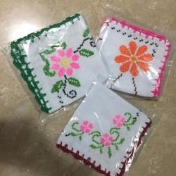 Cross stitch embroidered napkin