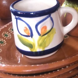 Flowery clay cup