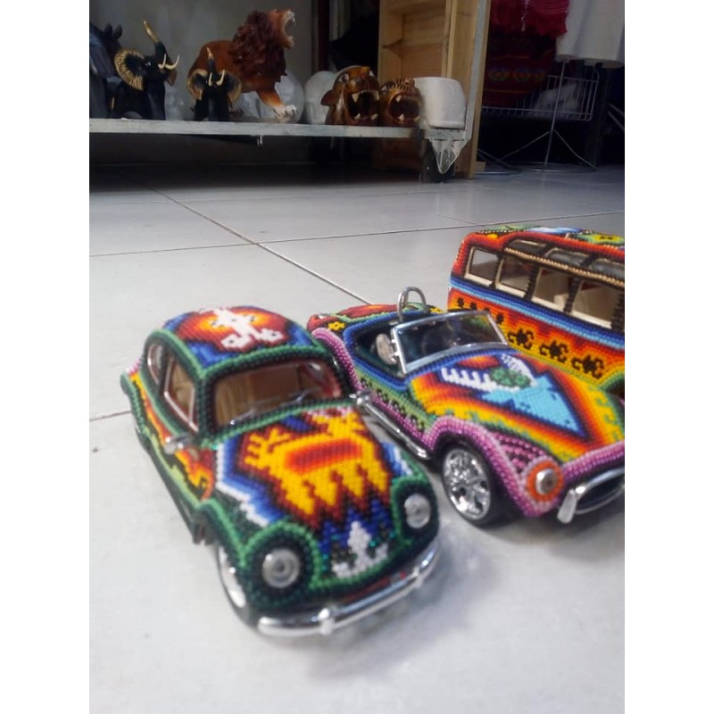 Scale cars with Huichol Art