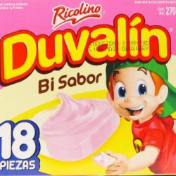 Duvalin strawberry/vainilla box 24 packs of 18 pieces each