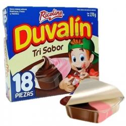 Duvalin Tri flavour box 24 packs of 18 pieces each