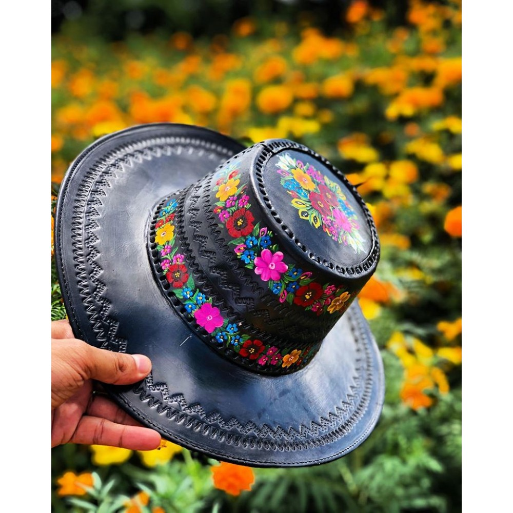 Hand painted hats 100% Leather