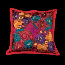Cushion cover flowery red