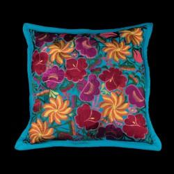 Cushion cover flowery turquesa