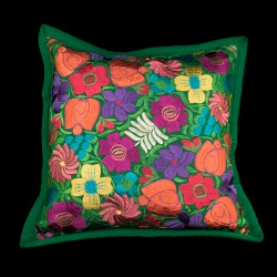 Cushion cover flowery green
