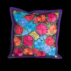Cushion cover flowery purple
