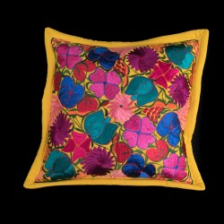Cushion cover flowery yellow