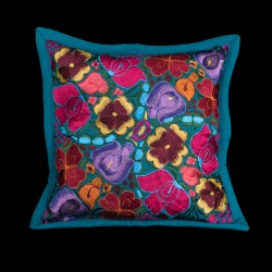 Cushion cover flowery ocean blue