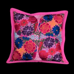 Cushion cover flowery pink