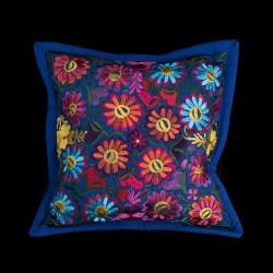Cushion cover flowery dark blue
