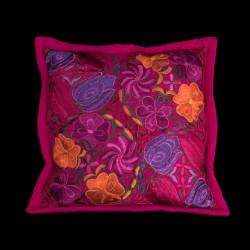 Cushion cover flowery dark pink