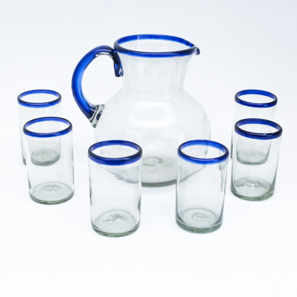 Blown Jar / Water Pitcher BLUE with 6 Glasses